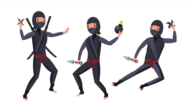 Ninja warrior character set Premium Vector