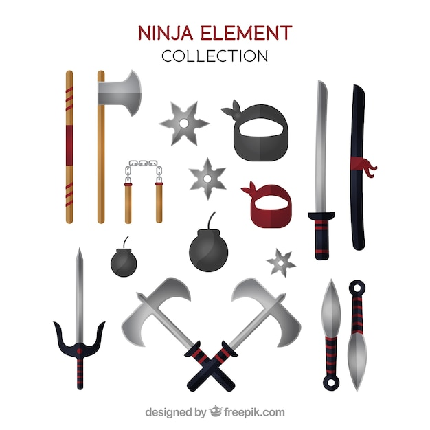 Ninja warrior element collection with flat design Free Vector