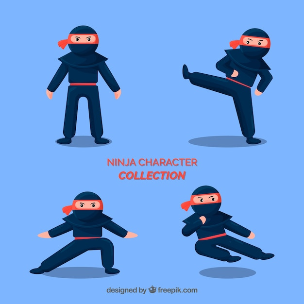 Ninja warrior in different poses with flat\ design