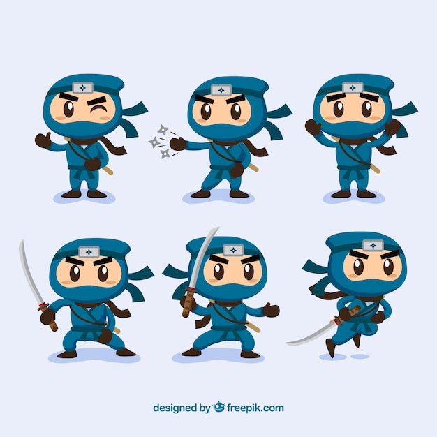 Ninjas character collection with different\ poses