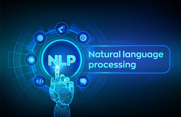 Nlp. natural language processing cognitive computing technology concept on virtual screen. robotic hand touching digital interface. Premium Vector