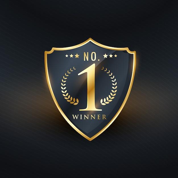 No. 1 winner badge label golden design Free Vector