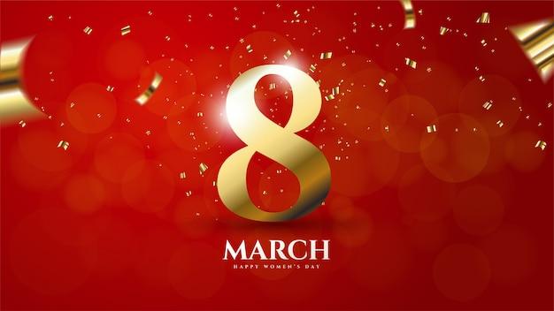 Женский день фон с иллюстрацией № 8 цветным золотом на красном Premium векторы