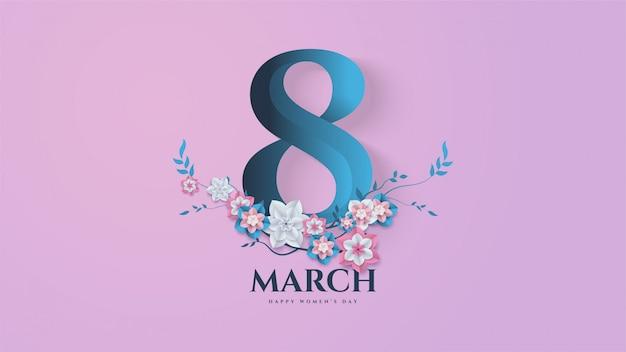 Женский день фон с иллюстрацией № 8 и цветы ветви и листья. Premium векторы