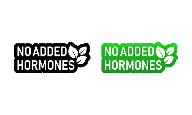 追加されたホルモンアイコンと天然物または健康的な新鮮な栄養物はありません Premiumベクター