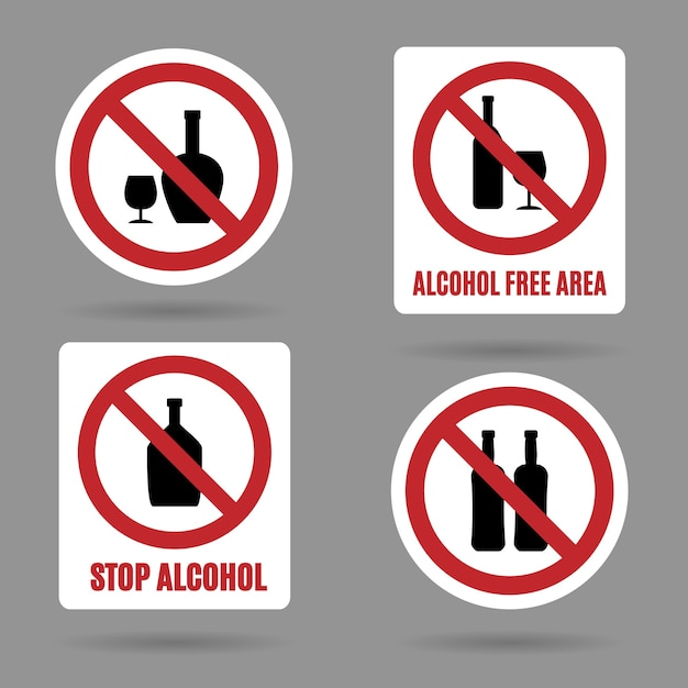 No alcohol and alcohol free area signs. Free Vector
