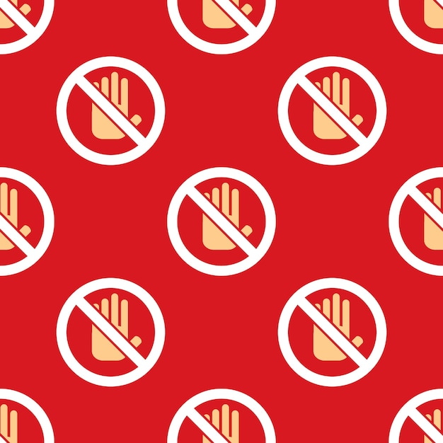 No entry hand icon pattern. stop sign background Free Vector