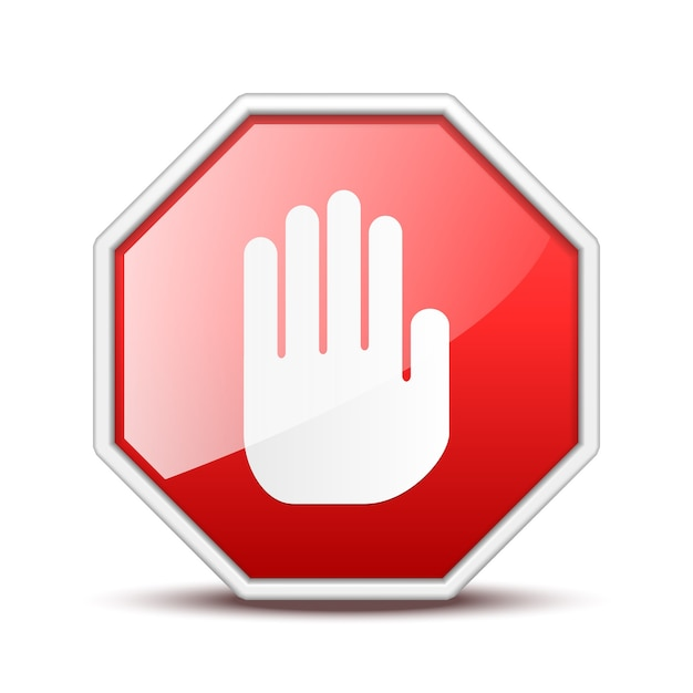 No entry hand sign isolated on white Free Vector