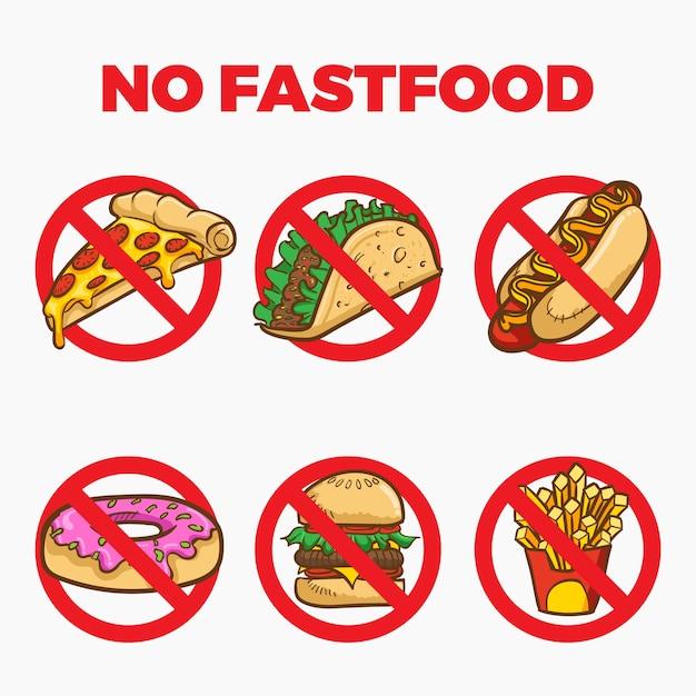Premium Vector | No fastfood sign cartoon