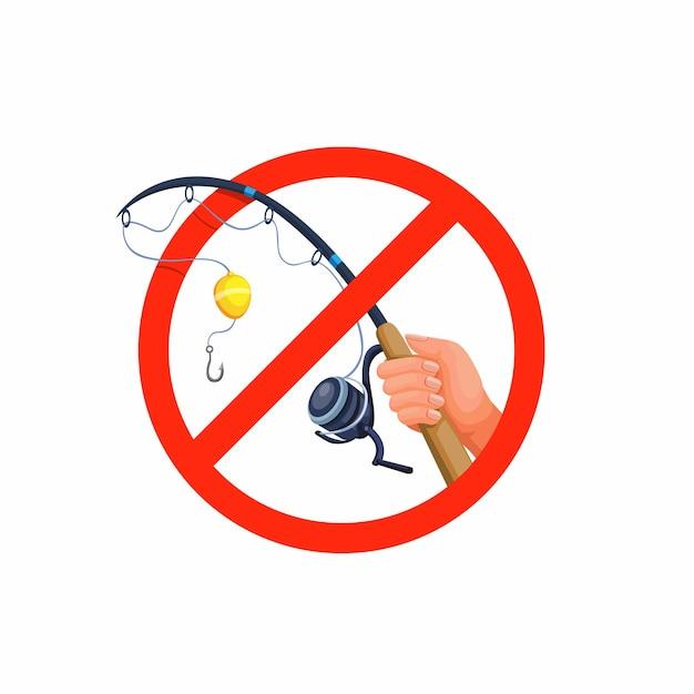 Не рыбачить. рука держать удочку, запрещающий символ концепции иллюстрации Premium векторы