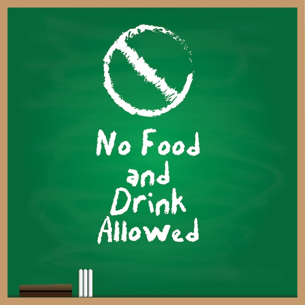 No food and drink allowed symbol written with a chalk style on green background