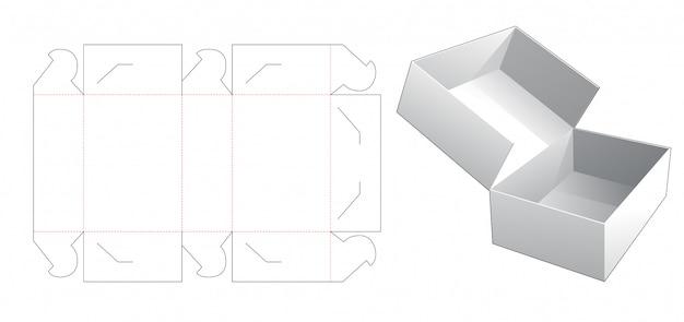No glue cake box die cut template Premium Vector