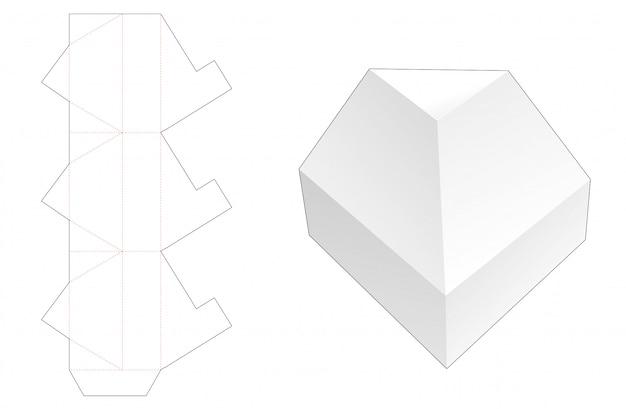 No glue triangular packaging box die cut template Premium Vector