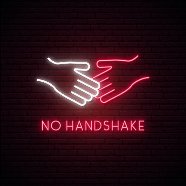 No handshake neon sign. Premium Vector