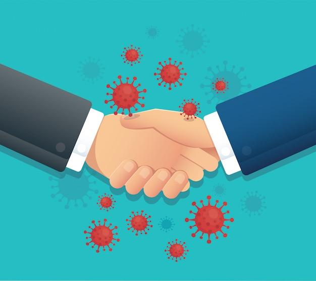 No handshake, social distance, corona virus infection Premium Vector