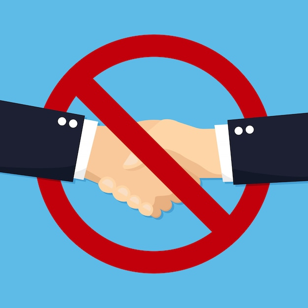 No handshake for virus in a flat design.   illustration icon Premium Vector