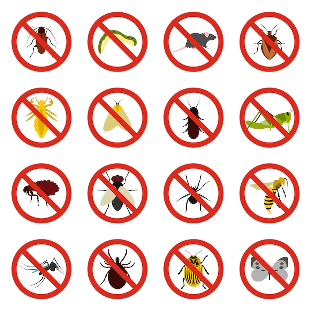 No insect sign icons set Premium Vector
