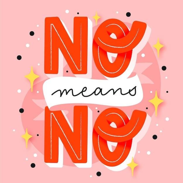 No means no lettering Free Vector