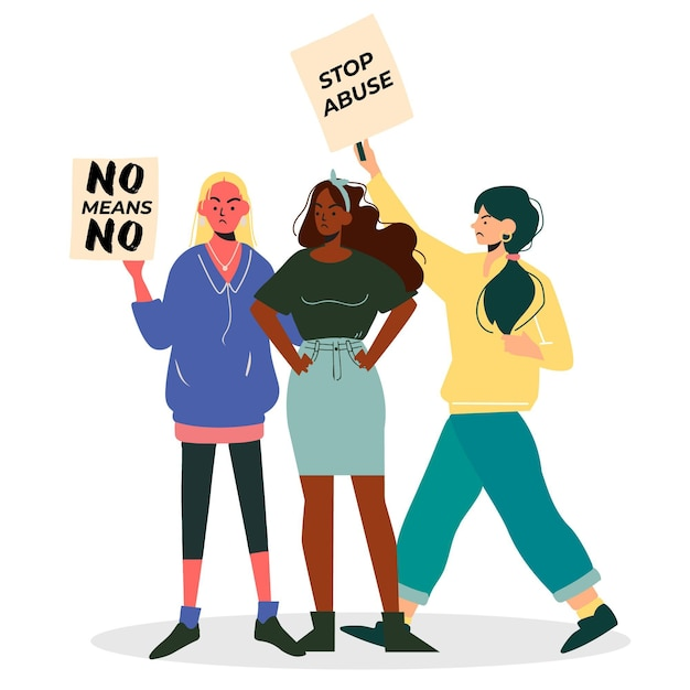 No means no with women and placards Free Vector