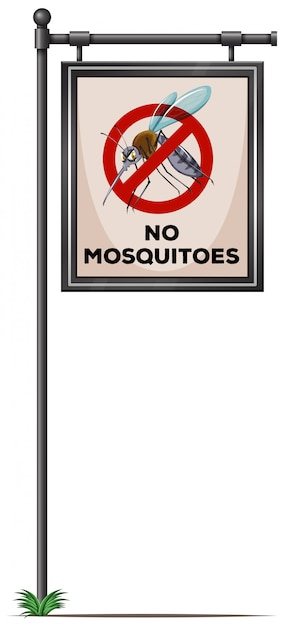 No mosquitoes sign on the pole Free Vector