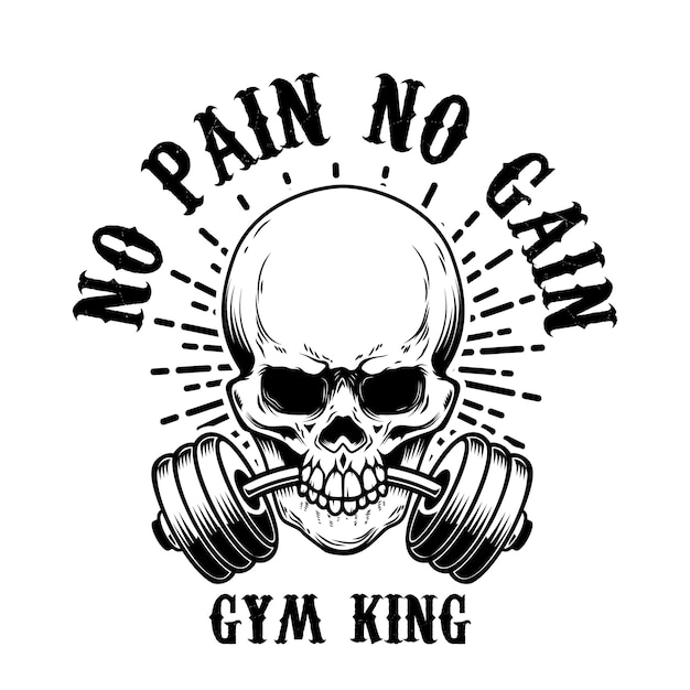 No pain no gain. skull with barbell in teeth.  element for poster, card, t shirt, emblem, sign.  illustration Premium Vector