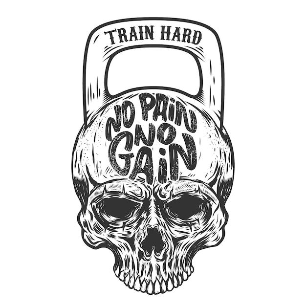 고통이 없으면 얻는 것도 없다. 열심히 훈련하십시오. 무게의 형태로 두개골. 요소 프리미엄 벡터