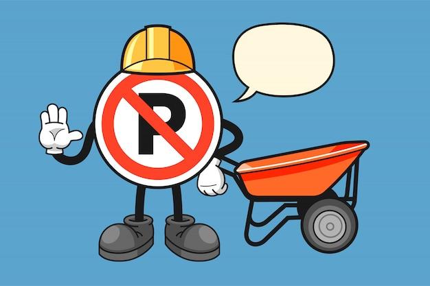 Не парковка знак мультипликационный персонаж с жестом стоп Premium векторы