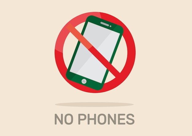 No phone sign. Premium Vector