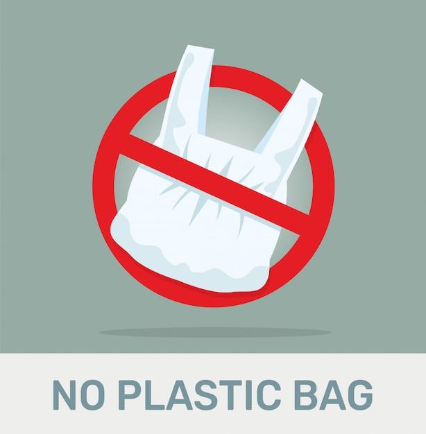 No plastic bag forbidden sign. Premium Vector