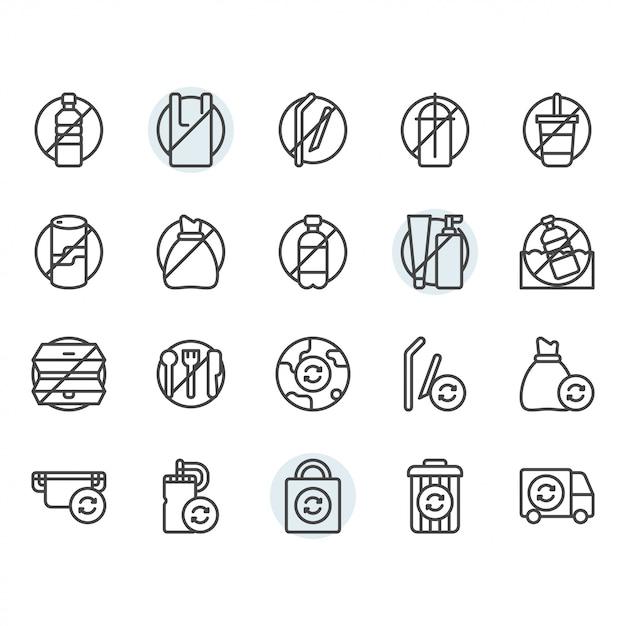 No plastic concept related thin line icon set Premium Vector