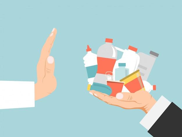 ポリマーの兆候、宣伝バナー、青の図に分離されたプラスチック材料からの手の拒否。エコフレンドリーな活動家。 Premiumベクター