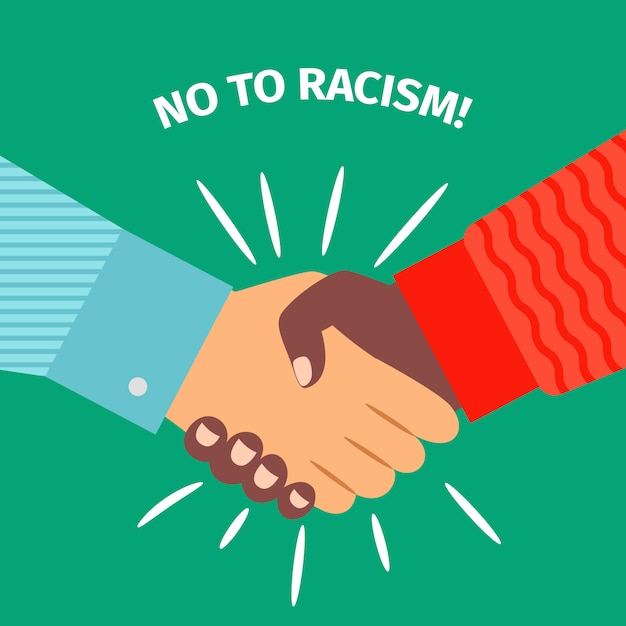 No to racism, handshake businessman agreement Premium Vector