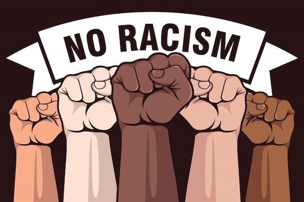 Без расизма дизайн плаката Premium векторы