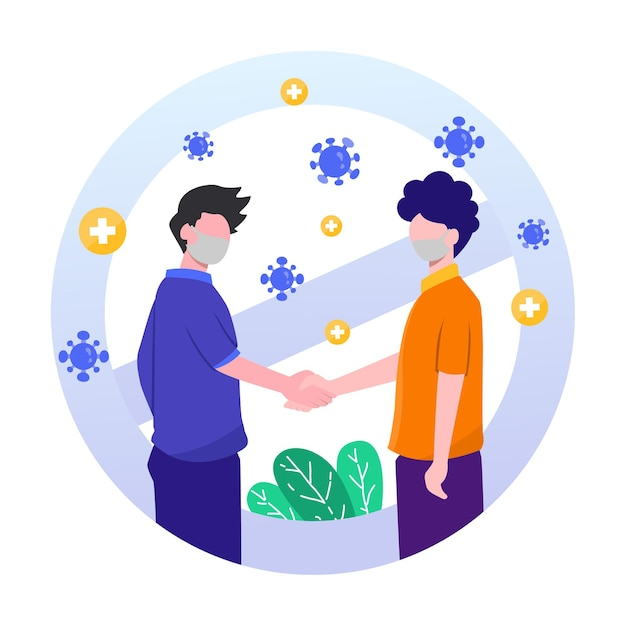No shake hand warning virus Premium Vector