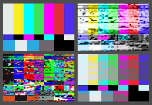No signal tv test pattern background set Premium Vector