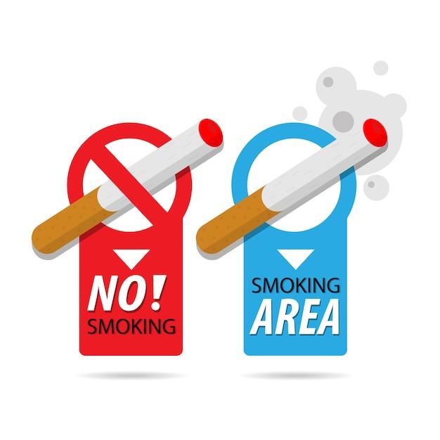 禁煙と喫煙エリア。喫煙タバコ、火災の危険性リスクアイコンバッジ Premiumベクター