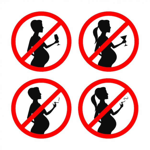 No smoking and drinking during pregnancy signs set. vector vintage illustration. Premium Vector