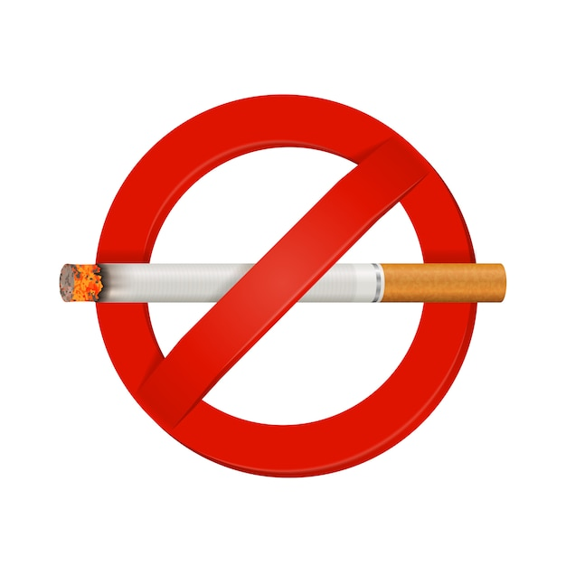 No smoking realistic cigarette sign Free Vector