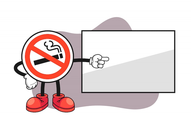 No Smoking Sign Cartoon Character Pointing To A Whiteboard Premium Vector