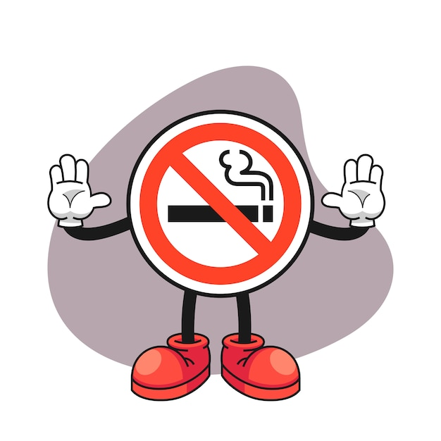 No Smoking Sign Cartoon Character With A Stop Hand Gesture Premium Vector