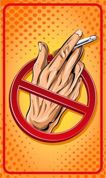 Не курить знак мультфильм Premium векторы
