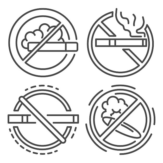 No smoking sign icon set. outline set of no smoking sign vector icons Premium Vector