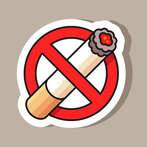 Не курить знак стикер иллюстрации Premium векторы