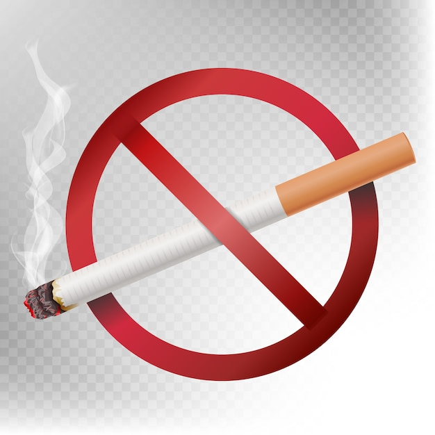No smoking sign vector. illustration isolated on transparent background. Premium Vector