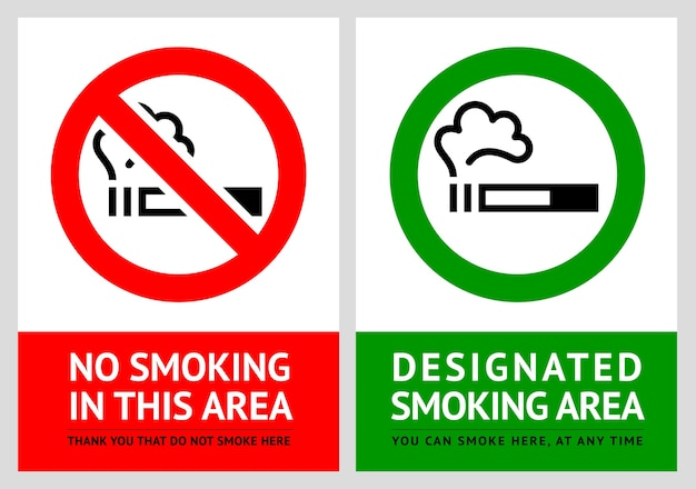 No smoking and smoking area labels Premium Vector