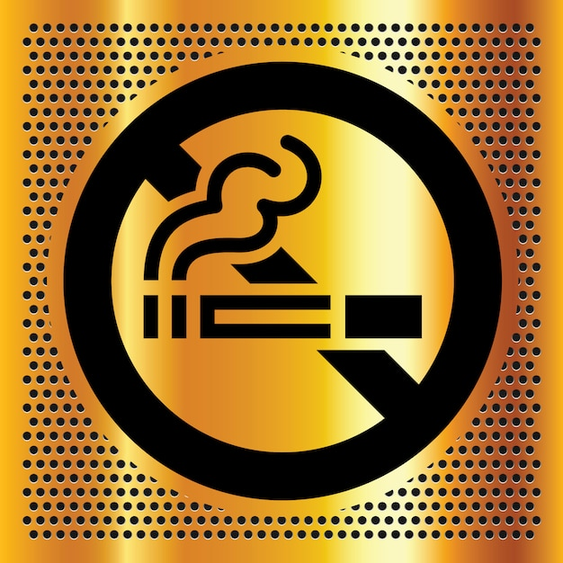 No smoking symbol on a gold color for sign Premium Vector
