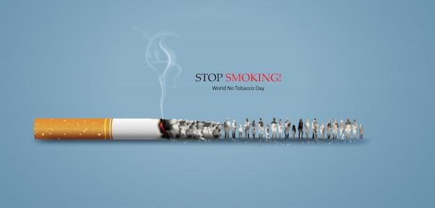 No smoking and world no tobacco day Premium Vector