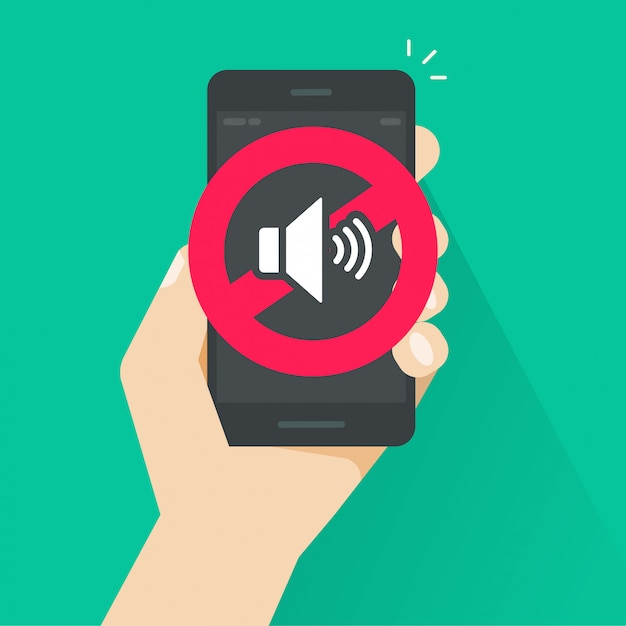 No sound or cell phone silence mode sign for mobile phone illustration Premium Vector