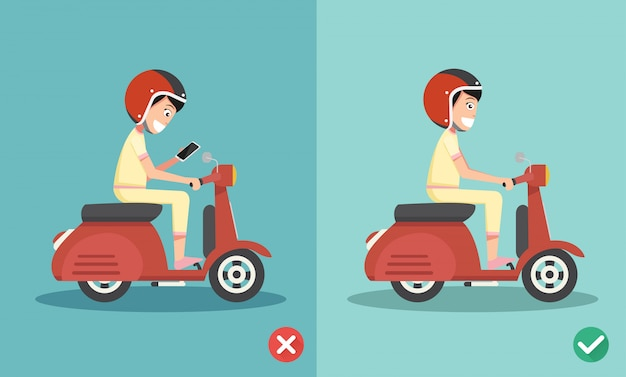 No texting ,no talking, right and wrong ways riding to prevent car crashes Premium Vector
