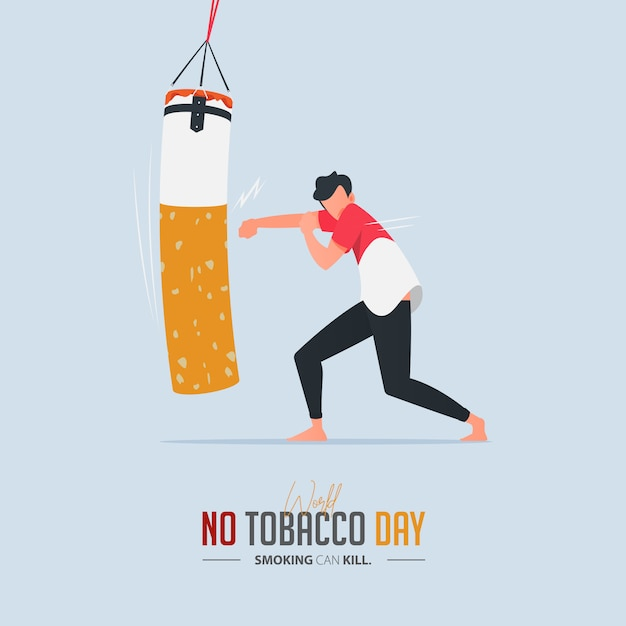 タバコ中毒の概念のためのタバコの日ポスターはありません。 Premiumベクター